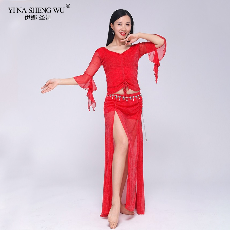 Women Belly Dance Costume Lady Long Dress Butterfly Half Sleeve Bellydance Practice Clothing Top Skirt Underpants Dancewear Suit