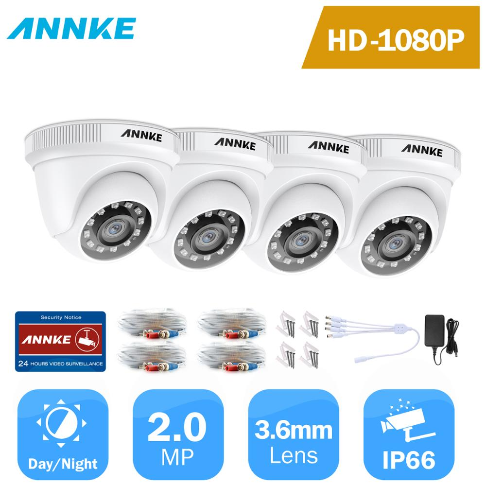 ANNKE 4PCS 1080P Surveillance Cameras 2MP IP66 Waterproof Indoor Outdoor CCTV Camera Kit 30m Night Vision With Smart IR Dome Cam