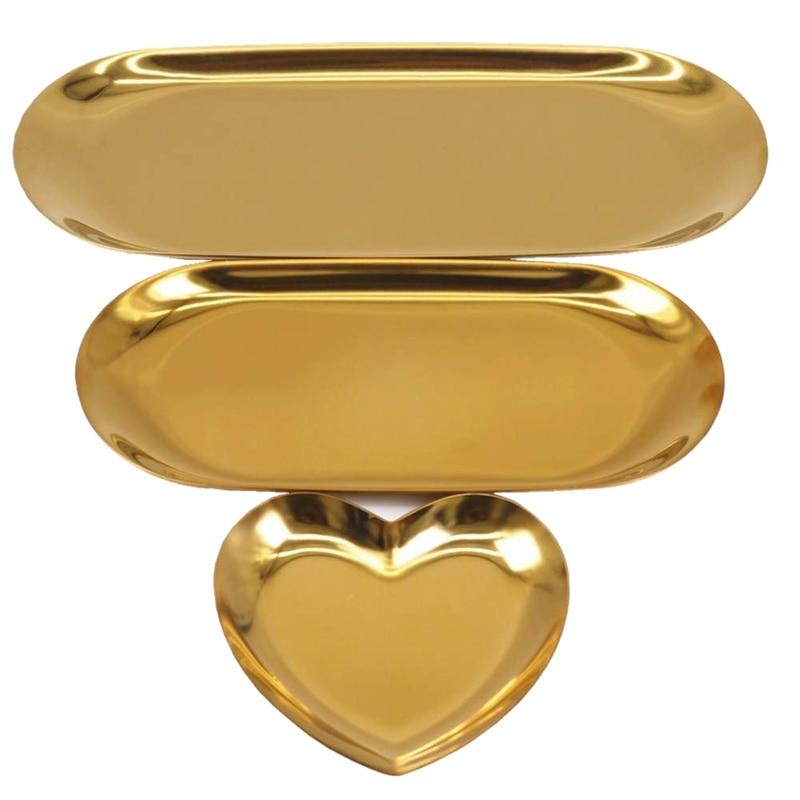3Pcs Jewelry Tray Gold Tray Vanity Tray Jewelry Organizer Trays Candle Tray Cosmetic Tray Decorative Jewelry Dish For Vanity Liv
