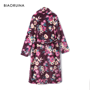 Image 2 - BIAORUINA Womens Vintage Flannel Floral Printed Long Robes with Sashes Female Winter Keep Warm Casual Sleep Clothing Underwear