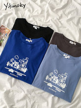 Yitimoky-Camiseta de dibujos animados para mujer, ropa Kawaii Harajuku, Tops Vintage de algodón con cuello redondo, manga corta, negro, azul y gris, verano 2021
