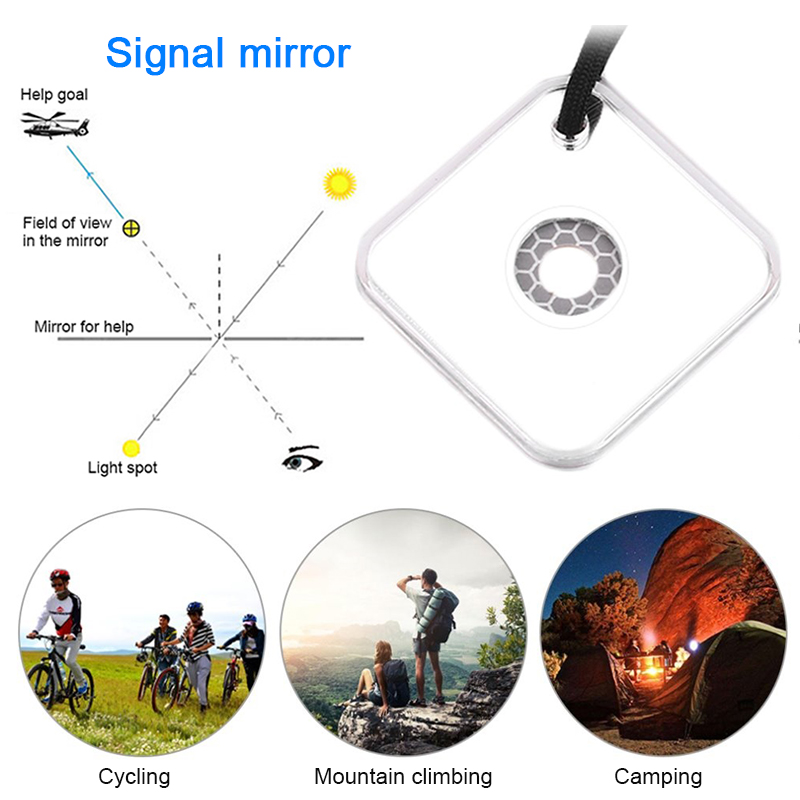 Outdoor Reflective Signal Mirror Portable Emergency Survival Signal Mirror Reflective Makeup Mirrors Portable Hanging EDC Tools