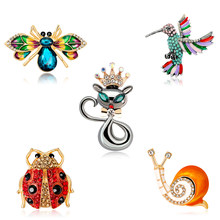Kristal Serangga Bros Beetle Siput Ladybug Bros Pin Fashion Hummingbird Burung Perhiasan Elegan Mahkota Kartun Hewan Badge(China)
