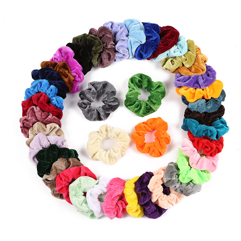 Soft Chiffon Velvet Women Hair Scrunchie Elastic Hair Bands Christmas Stretchy  Hair Ties Ponytail Solid Color Accessories
