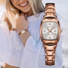 Luxury Crystal Watches For Women Rose Gold Steel Strap Ladies Wrist
