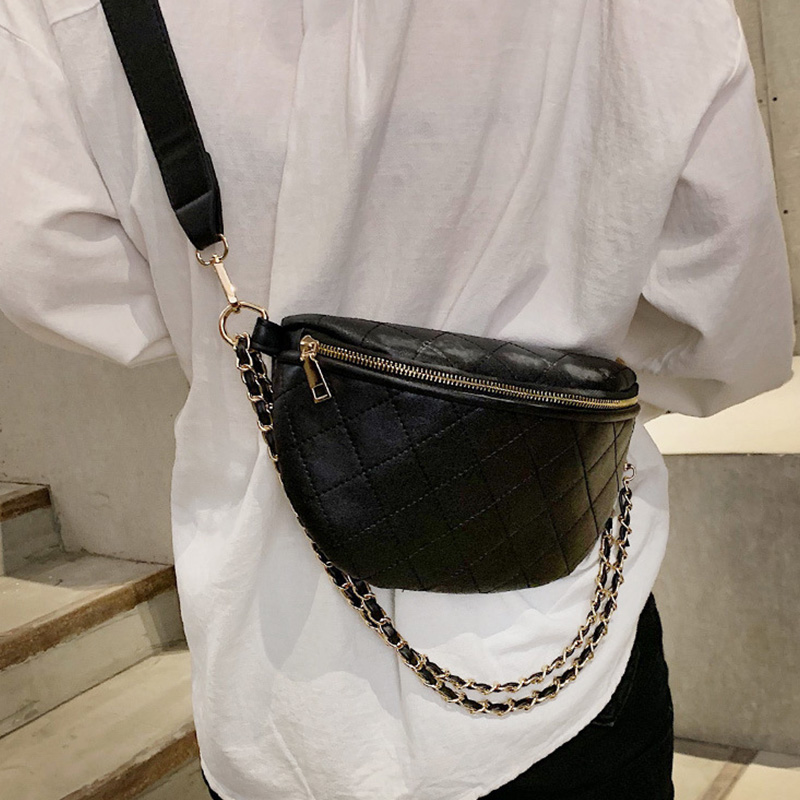 New Chain Leather Fanny Pack PU Bum Bag Women Hip Bag Zipper Banana Bags High Capacity Shoulder Kidney Bags Luxury Fanny Pack
