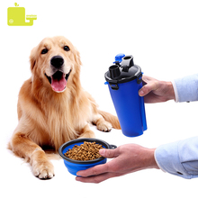 2 in 1 Foldable Dog Bowl Cats Feeding Feeder Water Bottle Outdoor Food  Travel Pet Bowls For Cat Puppy for