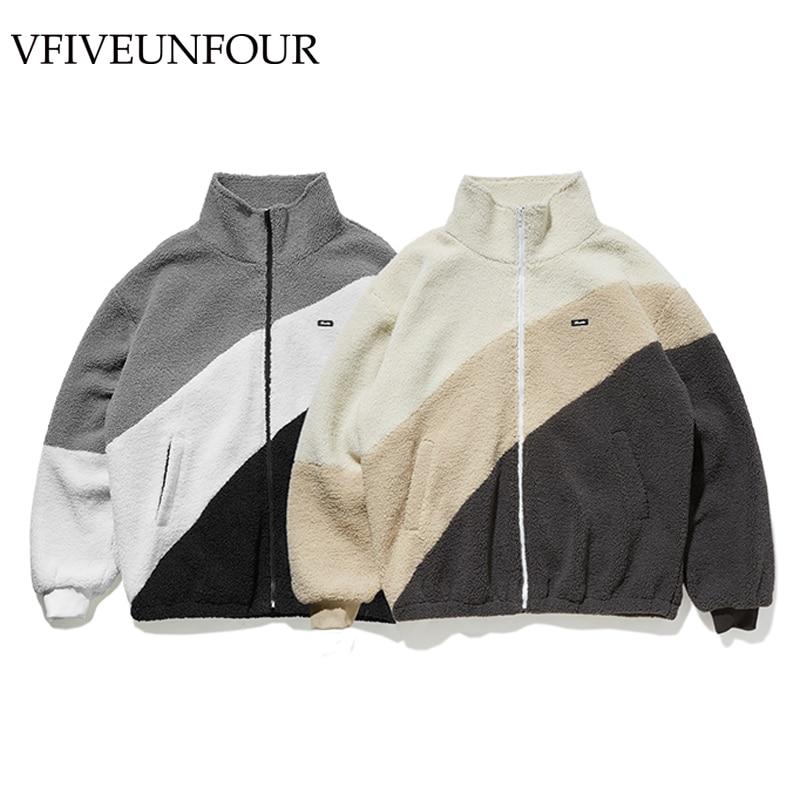 VFIVEUNFOUR Vintage Polar Fleece Men Jacket 2019 Oversize Men Jacket Winter Thick Warm Coat Polar Fleece Jacket High Street Tops