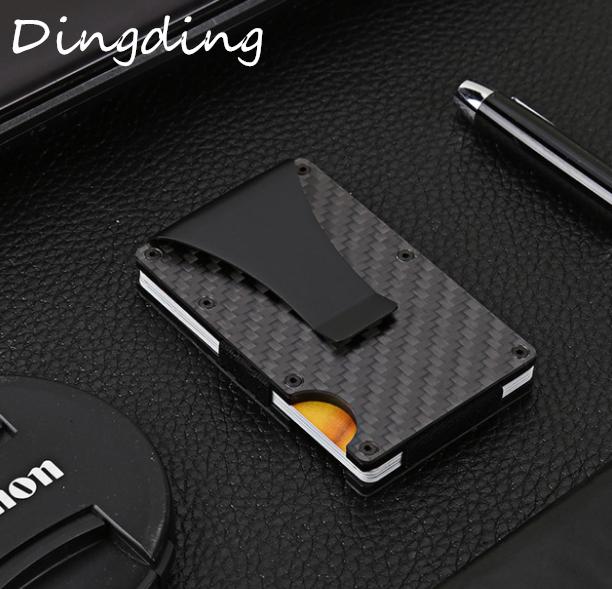 Carbon Fiber Credit Card Holder RFID Non-scan Metal Wallet Purse Male Business Card Holder Carteira Masculina Billetera