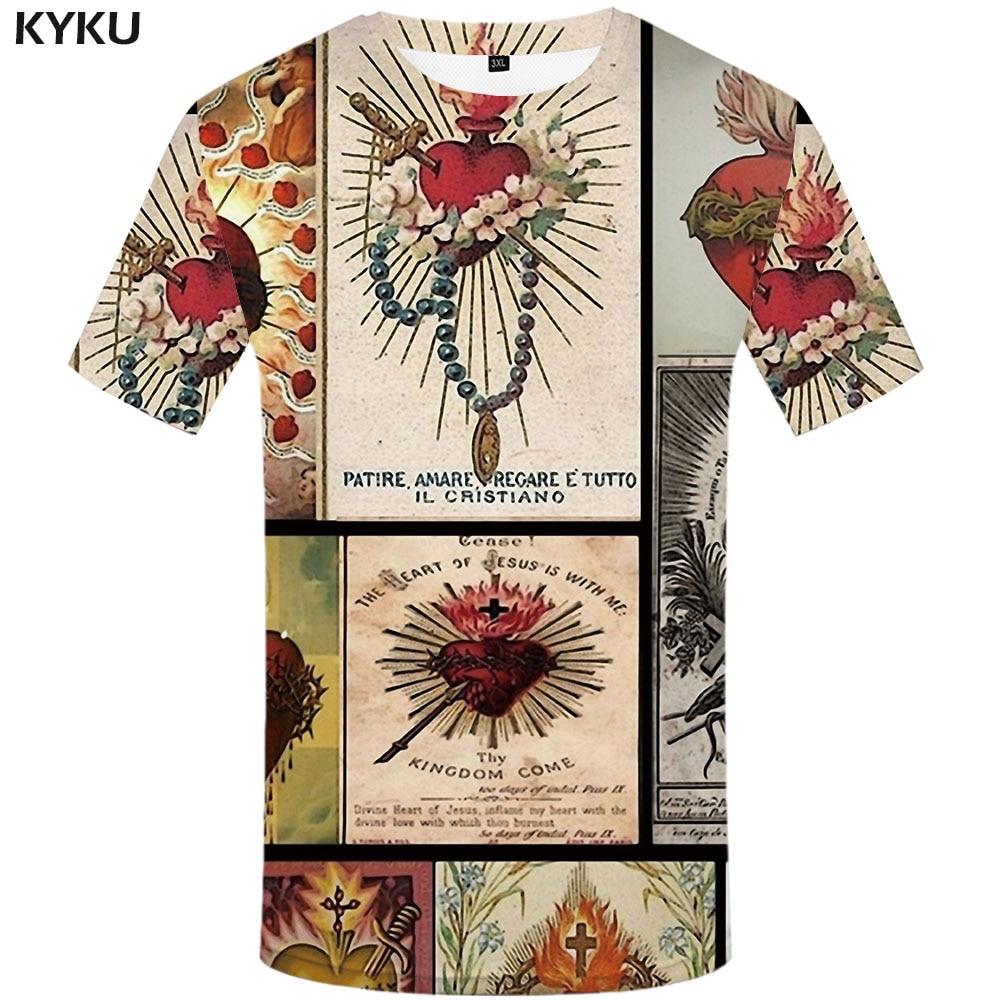 KYKU Jesus T-shirt Men Cross Tshirt Printed Christian Tshirts Casual Flame Anime Clothes Leisure Shirt Print Mens Clothing