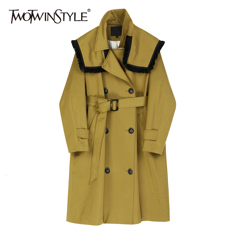 TWOTWINSTYLE Patchwork Tassel Windbreaker For Women Lapel Collar Long Sleeve High Waist Sashes Hit Color   Trench   Coat Female Tide