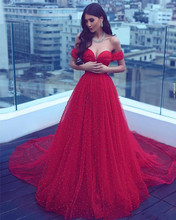 Saudi Arabia Off the Shoulder Red Crystals Pearl Beading Prom Dress 2020 Sexy Sweetheart Evening Gowns Party Dresses prom dresses