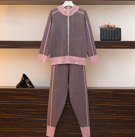 High Quality New Winter Woman Tracksuit Geometric StripeTurtleneck Zipper Knitted Cardigans+Women Two Piece Pants Sets