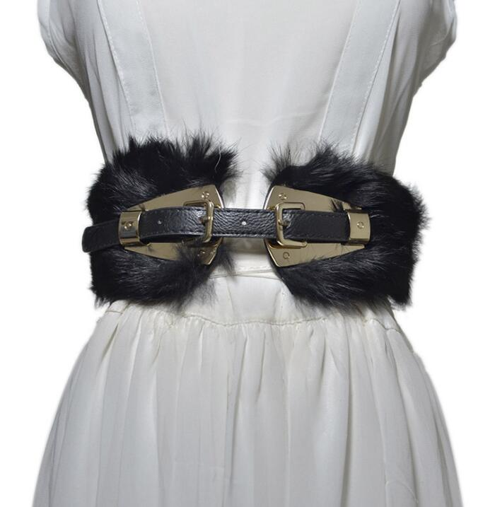 Women's Runway Fashion Rabbit Fur Elastic Pu Leather Cummerbunds Female Dress Corsets Waistband Belts Decoration Wide Belt R2263