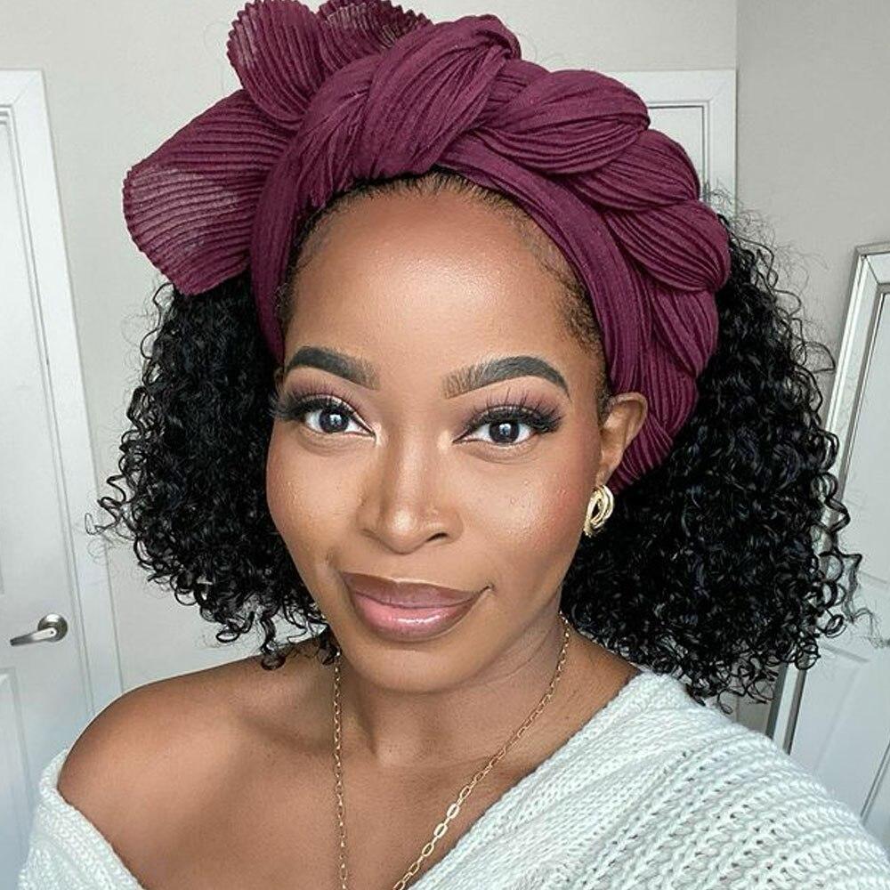 Nadula Hair Headband Wigs with Bangs  Curly  Hedaband Wig Natural Color Headband Wig  With Bangs 2