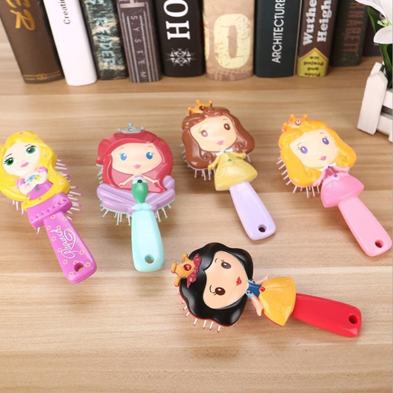1PCS Disney Kids Comb 3D Princess Hair Brushes Hair Care Baby Girl Mermaid Hair Comb Elsa Frozen 2019 New Cartoon Anti-static