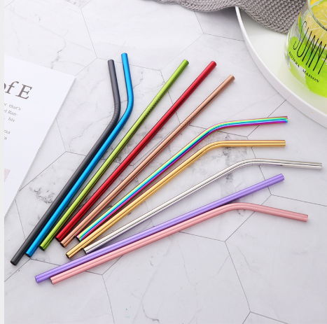 50pcs/lot Stainless Steel Straws Reusable Bent Straight Metal Drinking Straws For 20oz 30oz Tumbler Home Party Bar Accessories