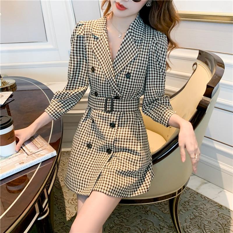 Ofis bayan kruvaze takım kıyafet kadın ceket yüksek bel puf kollu elbise ile moda kemer kadın sonbahar elbiseler