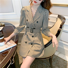 Office Lady Double-breasted Suit Dress Women Jacket High Waist Puff Sleeve Dress Fashionable with Belt Female Autumn Dresses