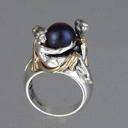 Vintage noir blanc perle anneaux pour femmes Punk métal beauté fille éternité bande anneau de mariage bijoux Z5T618