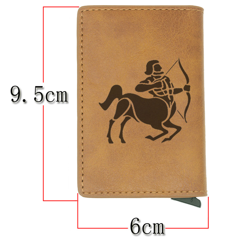 Fashion Classic Sagittarius Rfid Card Holder Men Wallets Brown Vintage Short Purse Leather Slim Wallets Mini Wallet