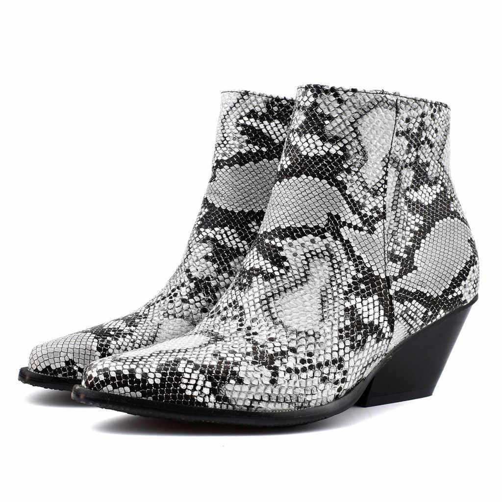 รองเท้าสตรี 2019 รองเท้าส้นสูงข้อเท้ารองเท้าขนาดใหญ่รองเท้า Knight Casual สั้น Booties งูรองเท้าผู้หญิงฤดูใบไม้ร่วง Ju25