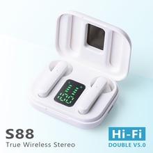 Xvida fone de ouvido sem fio bluetooth 5.0 mini tws fones alta fidelidade esporte com caso carregamento para todos os smartphones s88