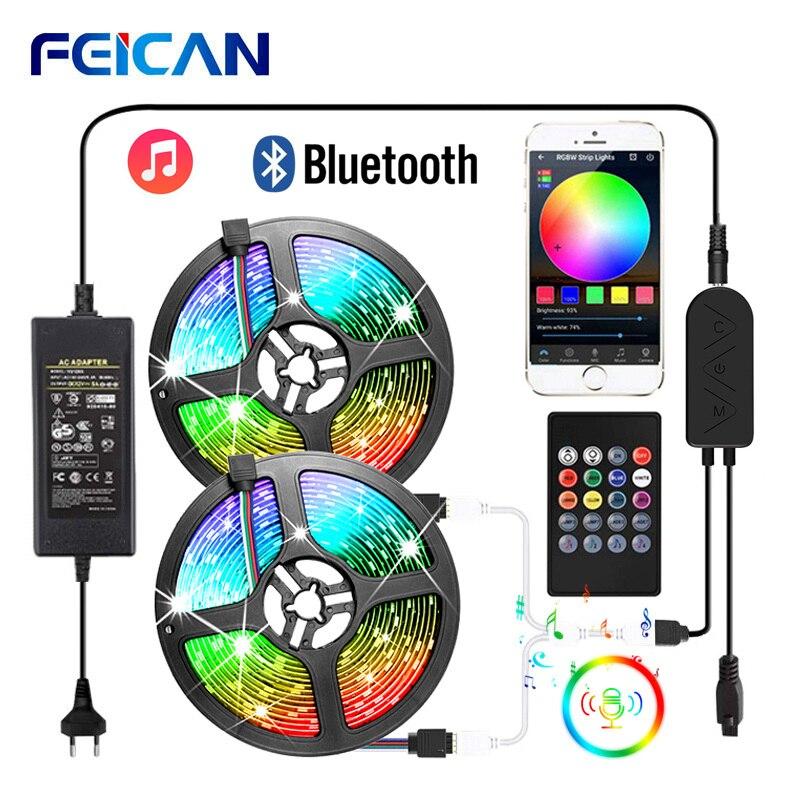 LED Strip RGB 5050 2835 Bluetooth LED Light Strip Music Sync LED Lights Sound Sensor Remote Control RGB Tape Backlight Ribbon