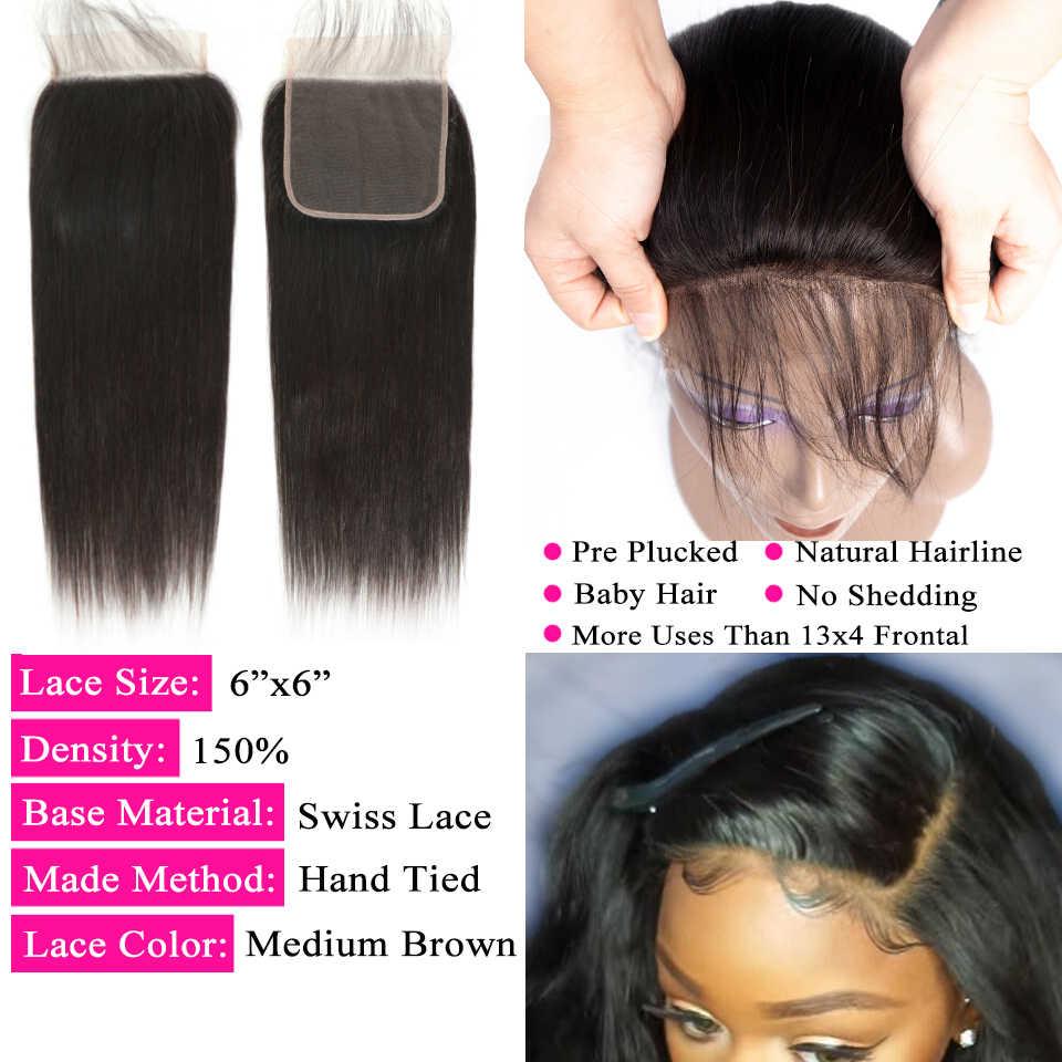 Queenlike 6*6 Vetersluiting En Menselijk Haar Bundels Met 6X6 Sluiting Braziliaanse Hair Weave Bundels Straight 3 Bundels Met Sluiting
