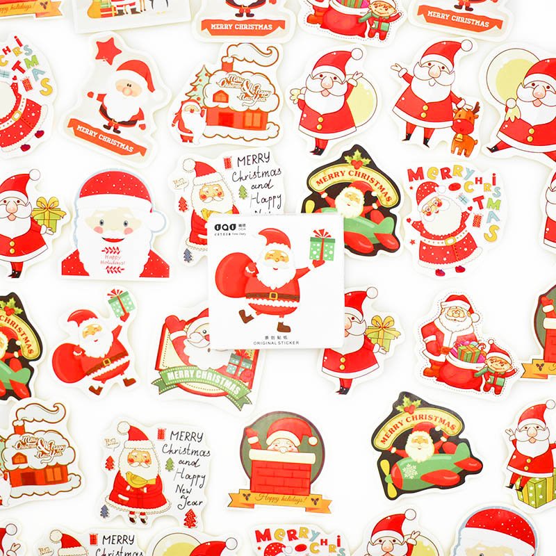 48 Pcs/Box Merry Christmas Stickers Cute Santa Claus Decorative Stickers For Kids DIY Scrapbooking Diary Stationery Stickers
