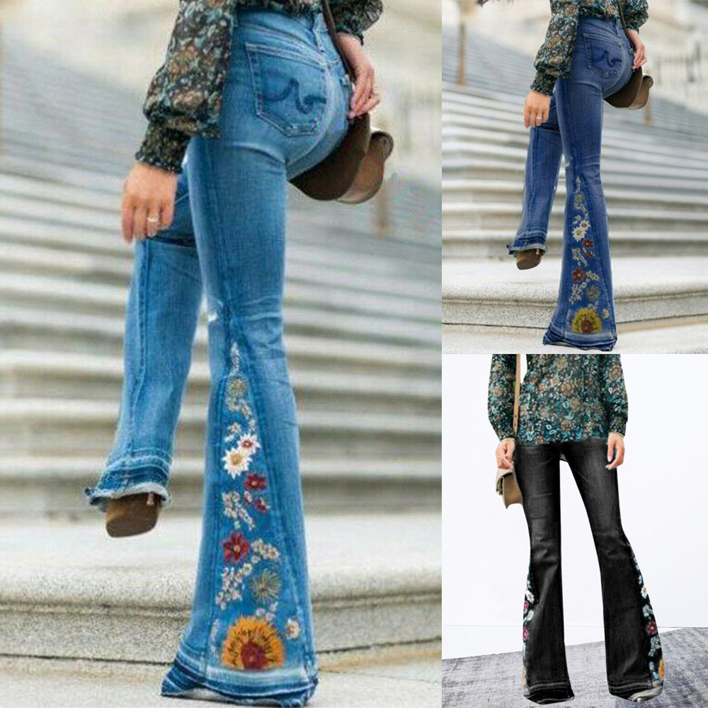 2020 Women Autumn embroidery Jeans pants female High Waist Wide Leg Trousers fashion Denim Skinny Flare Pants Stretch Streetwear