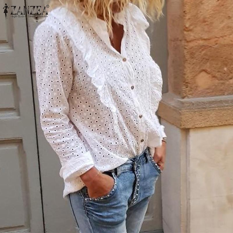 ZANZEA Embroidery Blouse Women Elegant Ruffles Shirt Sexy Hollw Out Loose Solid Tops Work Office Ladies Chic Tunic Blusas S-5XL