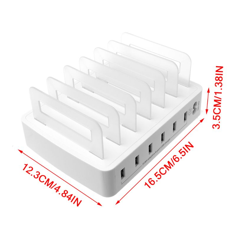 Smart Smart USB Charger Quick Charging Station Dock 6 Port 2.4A Mobile Phone Tablets Multiple Devices Organizer Desktop Stand