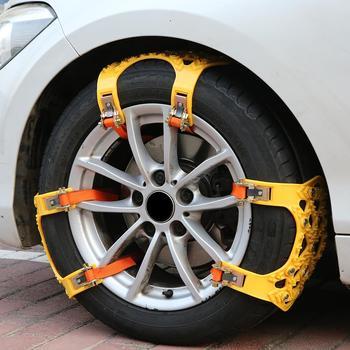 Łańcuchy śnieżne samochodu zagęszczony gumowy antypoślizgowy łańcuch opon do pojazdów terenowych SUV w zimie śnieg błoto bezpieczeństwo na drodze łańcuchy śnieżne na opony tanie i dobre opinie cacoonlisteo thickened TPU + steel nail 15cm 0 5kg 10cm Thickened Tire Chain yellow for SUVs cars 3pcs for 1 tire ice snow sand and muddy road