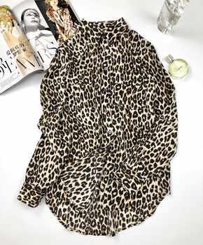 2019 Ne Spring Women Silk Leopard Print Shirt Long Sleeve Pocket Blouse Top - DISCOUNT ITEM  22% OFF Women\'s Clothing