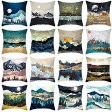 Pillowcase 45 * 45CM Retro Abstract Golden Mountain Print Pillowcase Home Sofa Pillow Cushion Cover Decorative Pillowcase snowman print cushion cover pillowcase
