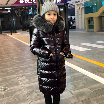 Fox Fur Winter Jacket for Girls  -30 Degrees Warm Down Jacket for Children 2-12 Years Teenagers Coat Baby Boy  Girl Clothes цена 2017