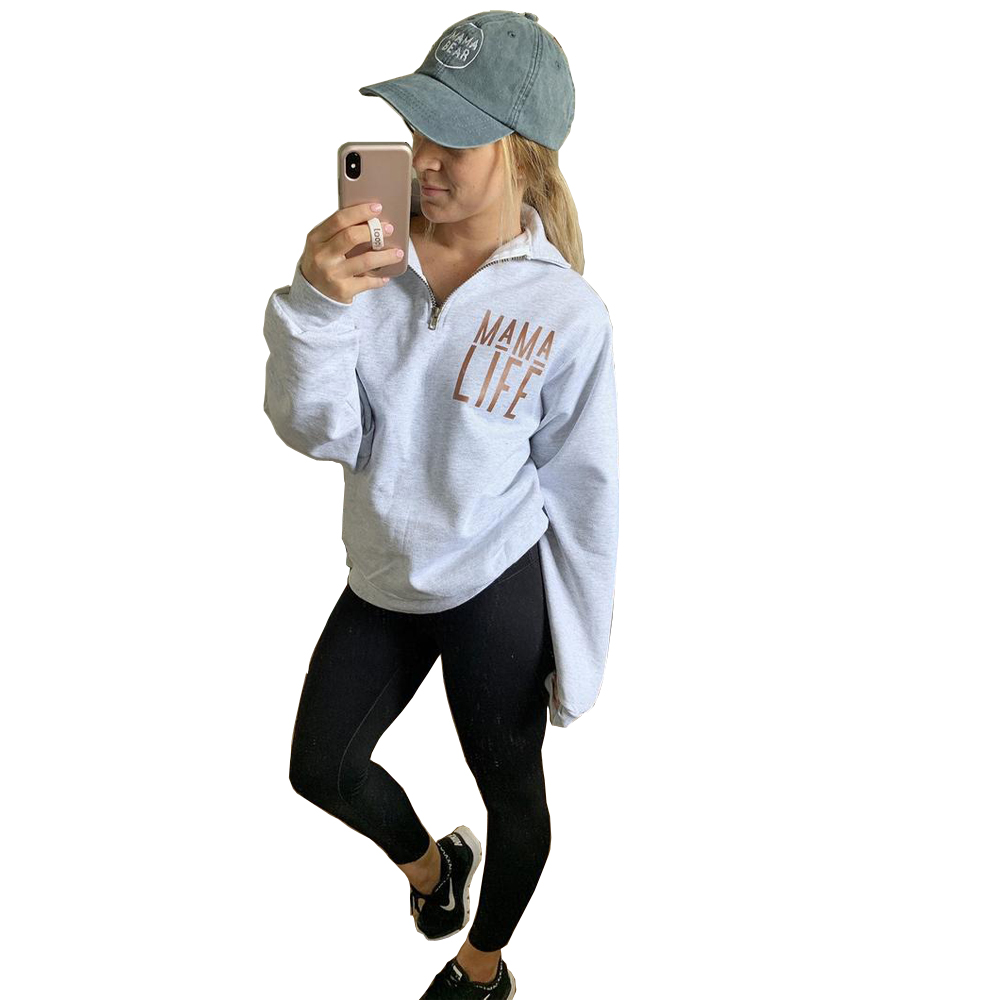 Womens Sweatshirt Ladies Fall 2019 MAMA LIFE Letter Printed Hoodie Sweatshirt Ladies Long Sleeve Pullover Jumper Sudadera Mujer