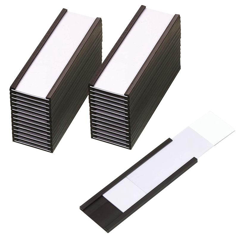 30Pcs Magnetic Label Holders with Magnetic Data Card Holders with Clear Plastic Protectors for Metal Shelf (1 x 3 Inch)