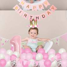 1st Birthday Party Decoration Foil Number Banner Balloons First Baby Shower Girl 1st 1 One Year Supplies Background Layout(China)