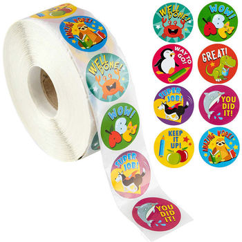 1Inch 500pcs Reward Stickers Encouragement Sticker Roll for Kids Motivational Stickers with Cute Animals For Students Teachers 500pcs cartoon cute animals reward stickers teacher motivational kids sticker school student encouragement stationery sticker