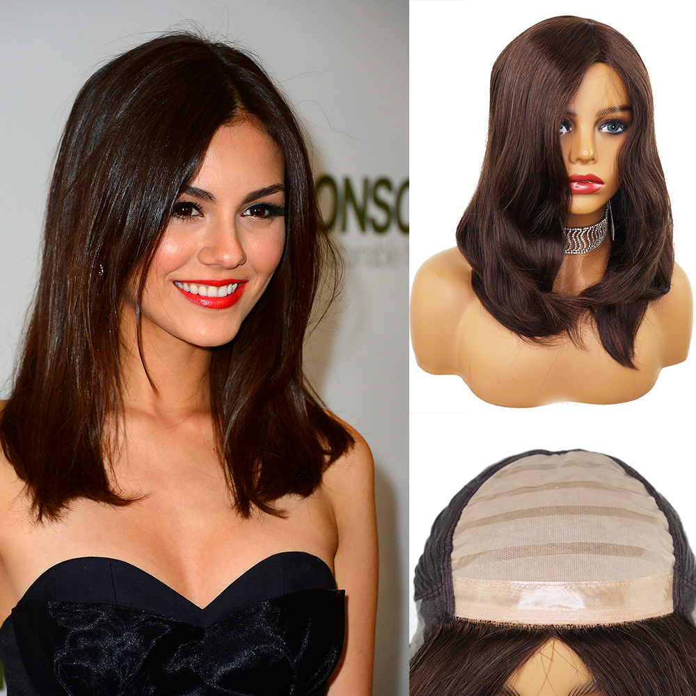 YY Wigs Dark Borwn Human Hair Jewish Wig Human Hair Silk Base Lace Front Wigs For Women Brazilian Remy Hair Dark Roots Lace Wigs