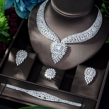 HIBRIDE New White Color Fashion Top Quality Wedding Jewelry Sets AAA CZ Geometric Bridal Earrings Necklace Sets N 1141