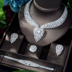 Image 1 - HIBRIDE New White Color Fashion Top Quality Wedding Jewelry Sets AAA CZ Geometric Bridal Earrings Necklace Sets N 1141