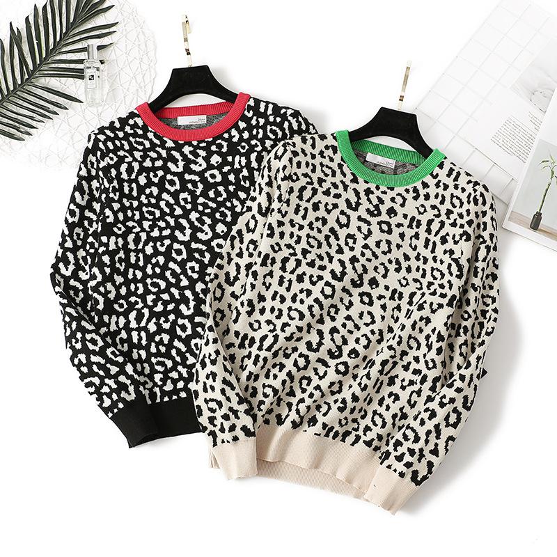 2020 Autumn Women O Neck Pullovers Leopard Print Women Vintage Sweater Knitting Women Winter Sweater Femme Pull Femme