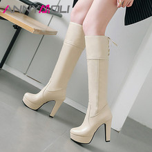 ANNYMOLI Winter Knee High Boots Women Boots Lace Up Platform Block Heel Long Boots Super High Heel Shoes Lady Autumn Size 33-45 nemaone fashion women s lace up knee high boots lady autumn winter high heels shoes woman platform yellow black white high boots