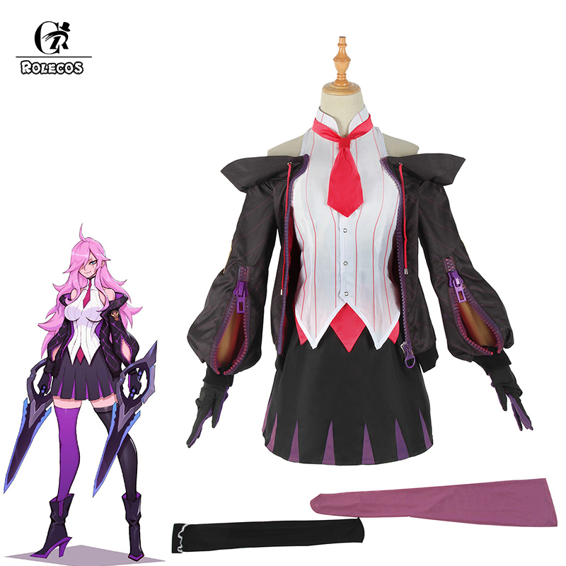 ROLECOS Game LOL Katarina Cosplay Costume LOL Battle Academia Katarina Cosplay Costume Women Uniform Top Skirt Outfit