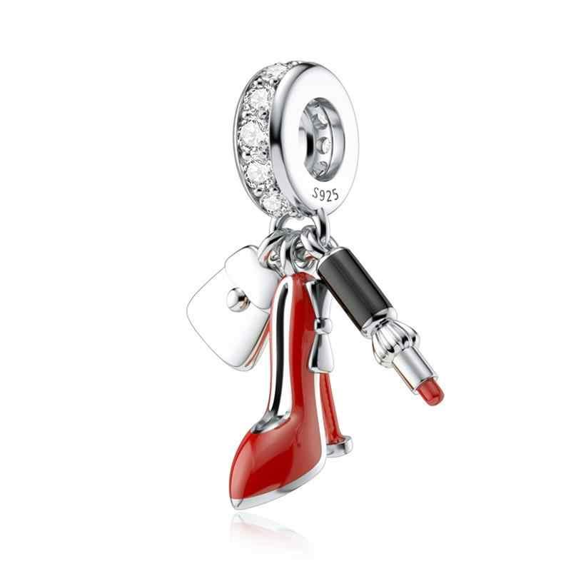 DALARAN luksusowe 925 srebro CZ szpilki szminka Charms paciorek Fit Pandora Charms srebro 925 oryginalny DIY biżuteria