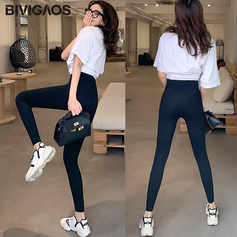 BIVIGAOS New Women Sharkskin Black Leggings Thin Workout Stretch Sexy Fitness Leggings Skinny Legs Slimming Sport Leggings 2