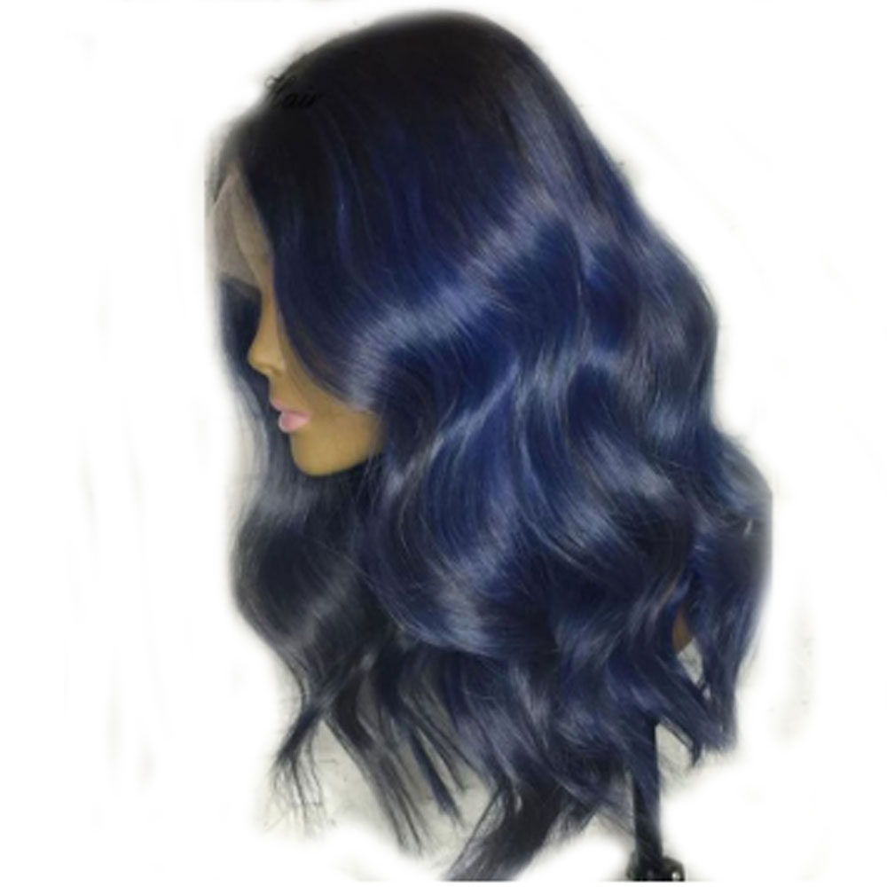 Eversilky Body Wave Ombre Blue Colored Human Hair Wig  Deep Part 13X4 Lace Front Brazilian Remy Pre Plucked With Baby Hair